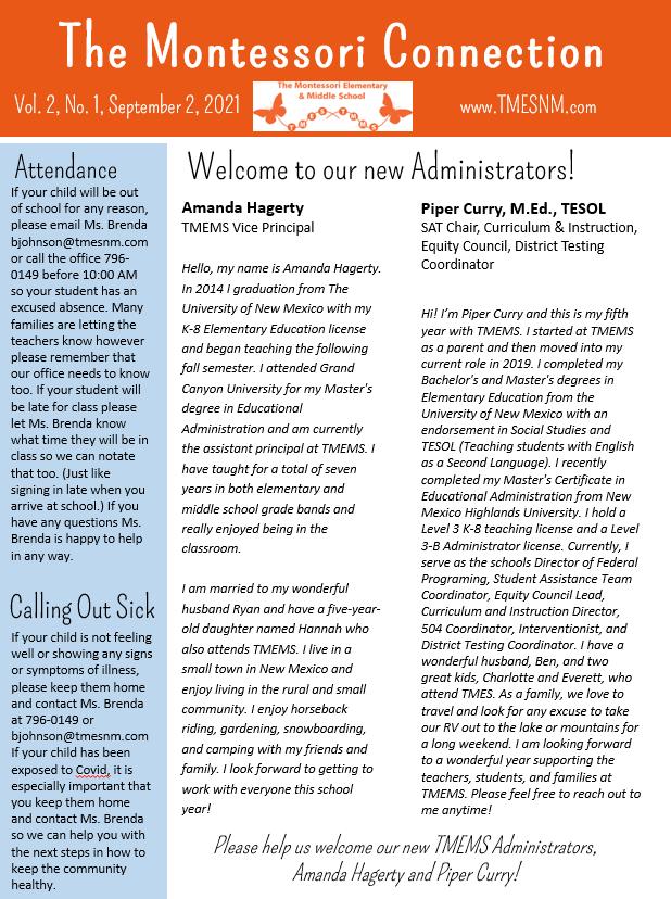 School Newsletter, Vol. 2, No. 1, September 2, 2021