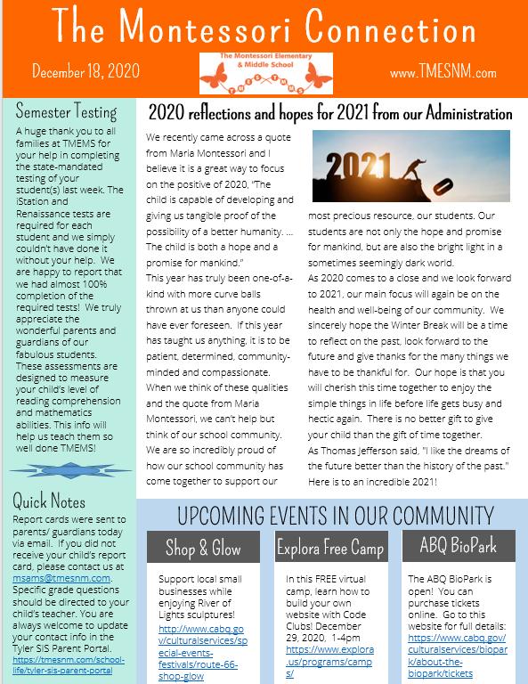 Newsletter- December 18, 2020